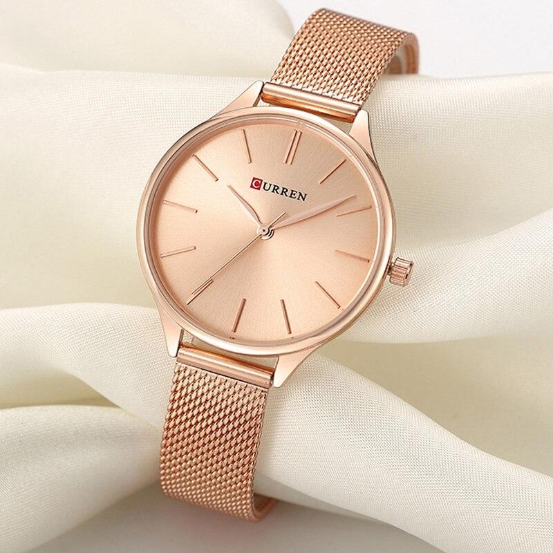 CURREN femmes montres de luxe montre-bracelet relogio feminino horloge pour femmes en acier milanais dame or Rose Quartz dames montre nouveau