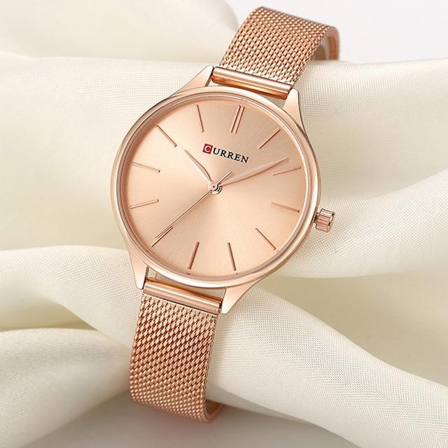 Curren Vrouwen Horloges Luxe Horloge Relogio Feminino Klok Voor Vrouwen Milanese Staal Dame Rose Goud Quartz Dames Horloge Nieuwe