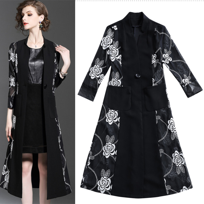 Runway Spring Autumn Vintage Women Long   Trench   Coat Graceful Floral Embroidery Cadigan Spliced Patchwork Party   Trench   NS82