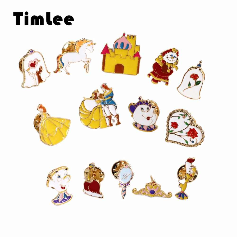 Timlee X047 Castle Rose Jantung Crown Putih Kuda Keindahan dan Binatang Bros Pin Fashion Perhiasan Grosir