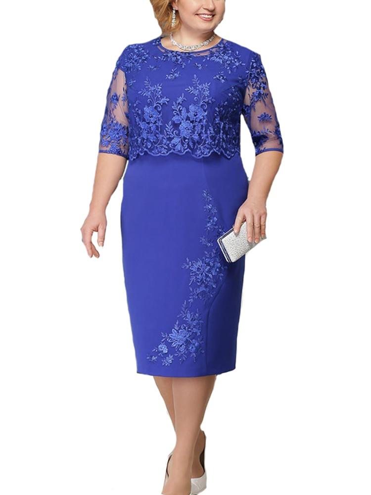 Rimiut Lace Dress Evening-Party-Dresses Vestido Autumn Large-Size Summer 6xl Women 5XL