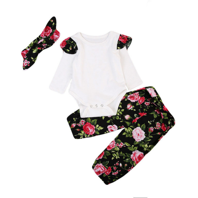 Hot Sale New Fashion Toddler Kids Baby Girls Ruched Tops Long Ruffle Sleeve Bodysuit Floral Loose Pants Leggings 3Pcs Set 0-24M