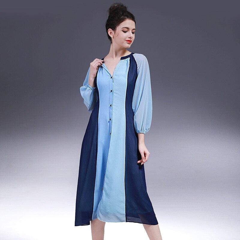 Women Dress Summer 2017 spring new dress Slim three color stitching pattern dresses for women fashion