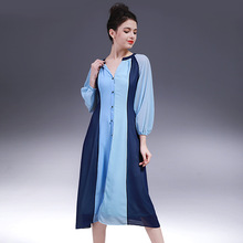 Women Dress Summer 2017 spring new dress Slim three-color stitching pattern dresses for women fashion dress female ZY1701L