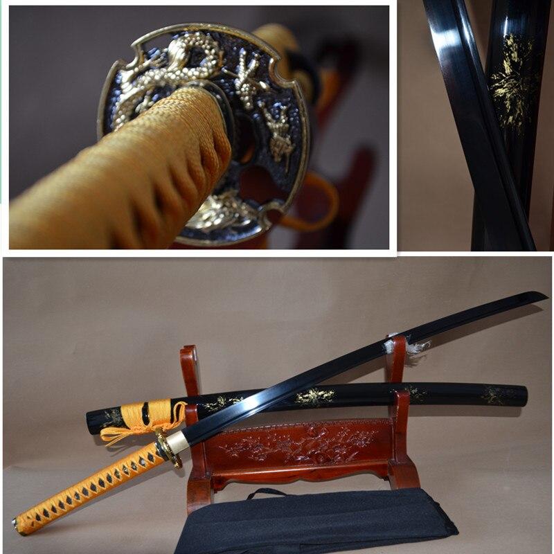 Hand Forged High carbon Steel Japanese Samurai Katana Sword Black Blade