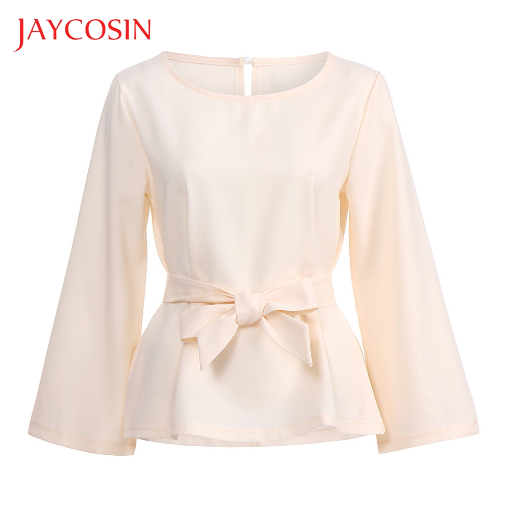 JAYCOSIN O Neck Womens Blouse Tops  Long Sleeve T Shirt With Belt Fashion Design Can Make You More Lovely And Vitality