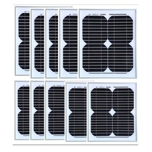 18v 10w Solar Panel 10Pcs Panneau Solaire Lampe 100w Light Kit Battery Charger Boat Car Caravan Camping Yachting