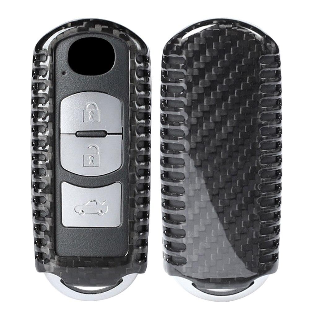 Fibre de carbone 3 boutons boîtier porte-clé couvre remplacement pour Mazda 3 6 CX-7 MX-5