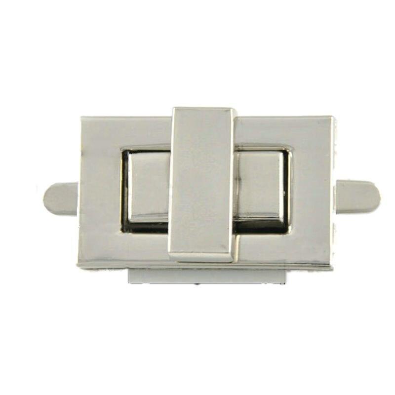 New Rectangle Shape Clasp Turn Lock Twist Lock DIY Leather Handbag Bag Hardware, Silver
