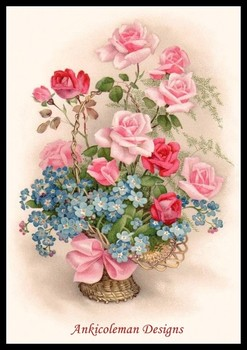 Needlework for embroidery DIY French DMC High Quality - Counted Cross Stitch Kits 14 ct Oil painting - Small Roses Basket