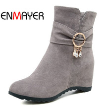 ENMAYER New Women Zipper Work Shoes Black Crystal Ladies Ankle Boots Gray Black Woman Shoes Soft Boots for Women Plsu Size 34-43 hee grand women boots for summer 2017 new solid zipper flat shoes woman split leather shoes woman sandals soft for mom xwz3957