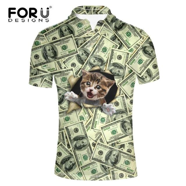 FORUDESIGNS Смешно Цена Доллара Узором 3D Кошка Собака Печать Polo Shirt Мужчины Высокое Качество Лето С Коротким Рукавом Мужской Топы поло