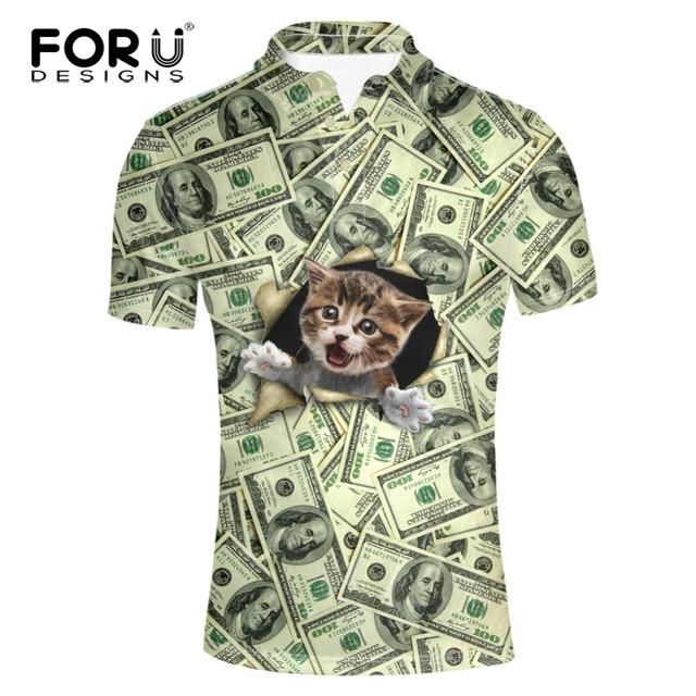 FORUDESIGNS Divertido Dólar Precio Patrón 3D Pet Dog Cat Print polo camisa de los hombres de alta calidad de manga corta de verano superior masculina Polos