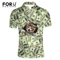 FORUDESIGNS Funny Dollar Price Pattern 3D Pet Cat Dog Print Polo Shirt Men High Quality Summer Short Sleeve Male Tops Polos