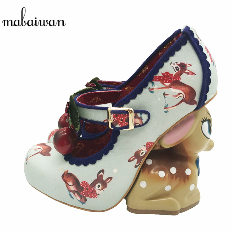 Mabaiwan Cute Little Deer Strange Heel Women Pumps Mary Janes Printing High Heel Party Dress Shoe Cherry Decor Wedge Shoes Woman strange cage heel women rhinestone sandals mary janes high heels women pumps wedding shoes woman stiletto cinderella shoe