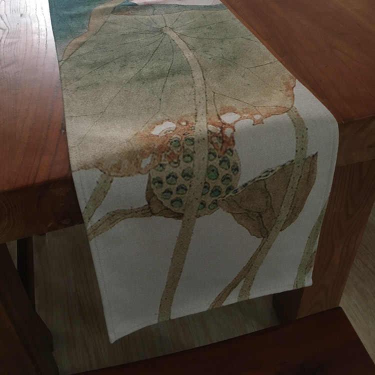 Китайский стиль винтажный Лотос хлопок лен чайная посуда коврики настольная дорожка бытовой ужин Настольный орнамент коврик офисная чайная подушка