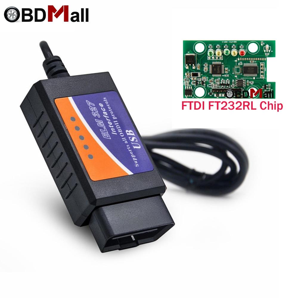 ODB 2 USB ELM327 FTDI con interruptor FT232RL Chip V1.5 ELM 327 USB Auto Doagnostic escáner soporte todos OBD2 protocolos para PC sistema