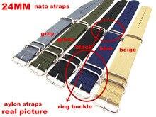 Ring buckle - Wholesale 10PCS/lots  High quality 24MM Nylon Watch band NATO waterproof watch strap fashion wach 5 colors