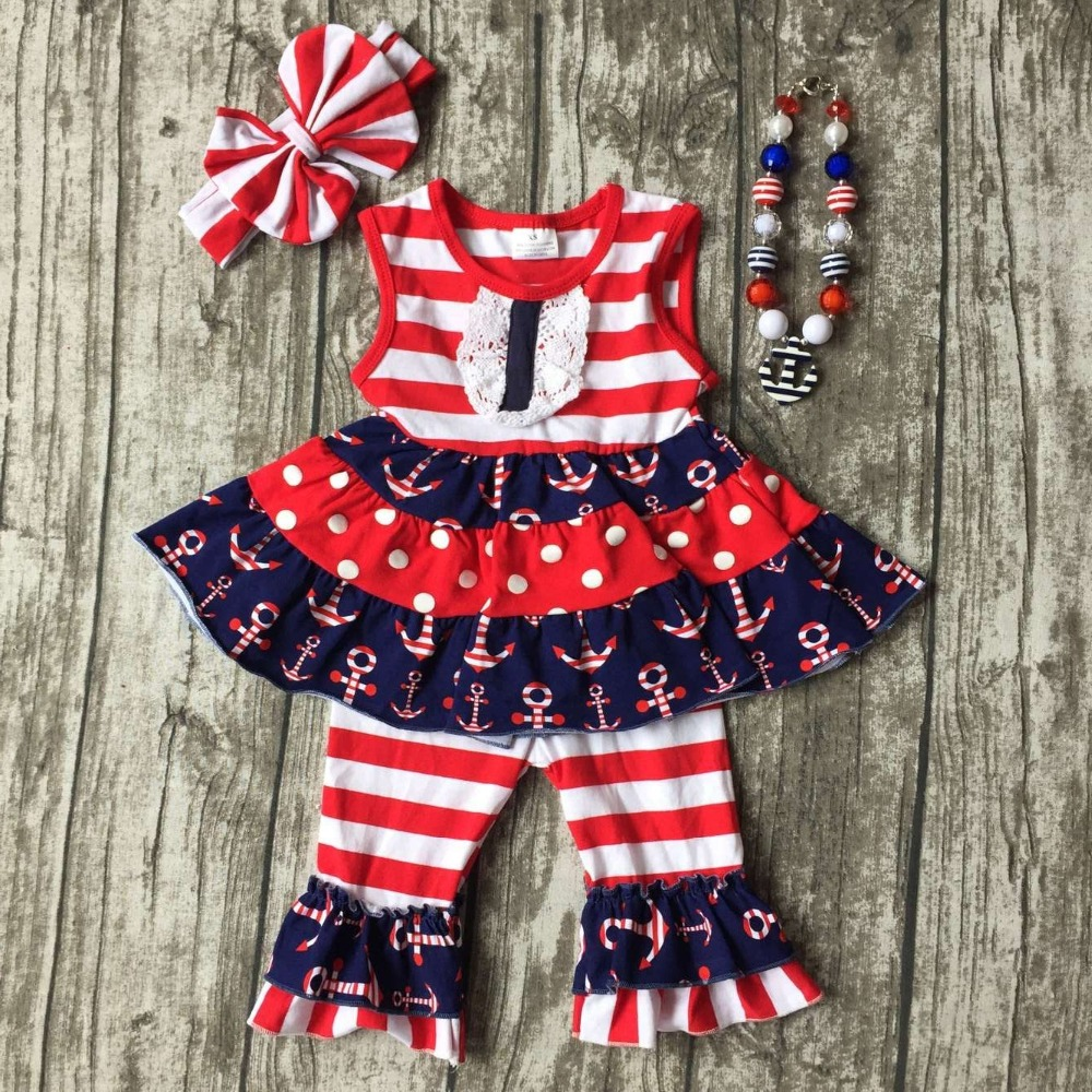baby girls summer capri clothing children July 4th Patriotic clothes girl red stripe top with anchor ruffle with accessories lole капри lsw1207 lotus capri m red sea