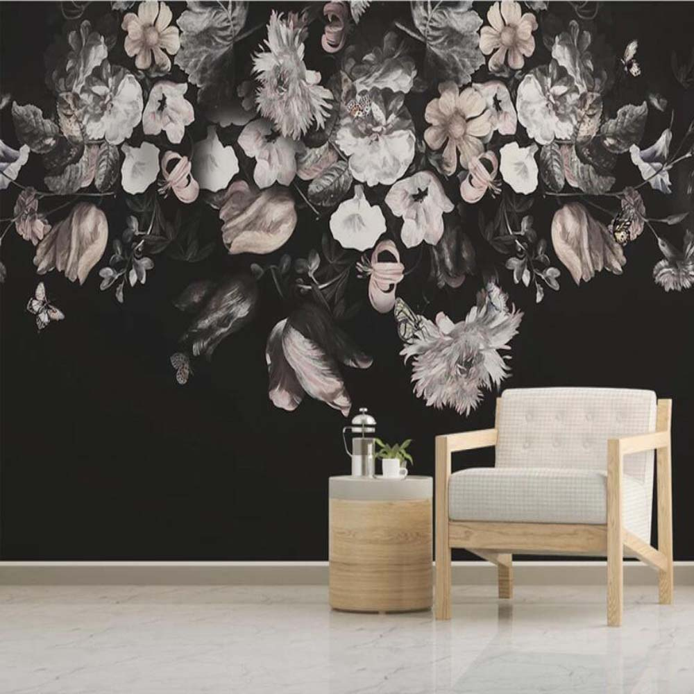 Black Vintage Dark Floral Wallpaper