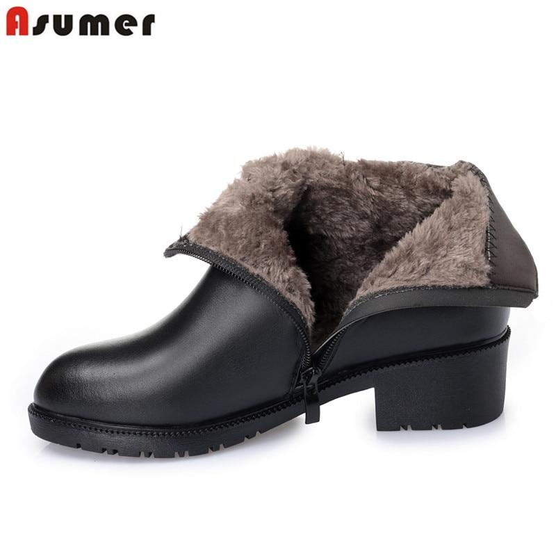 ASUMER 2019 nouvelles bottes de neige d'hiver femmes bout rond zip bottes en cuir véritable talon carré garder au chaud bottines femmes chaussures