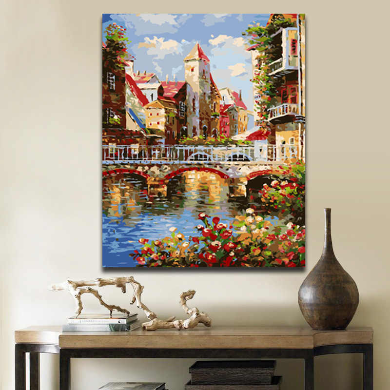 European City Building pictures painting by numbers landscape picture  the number with paint colours on canvas for hoom decor