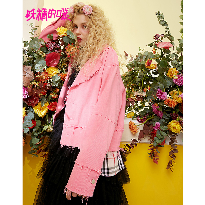 ELF SACK 2019 Spring New Pink Woman Jackets Full Turn down Collar Solid Cotton Coats Women