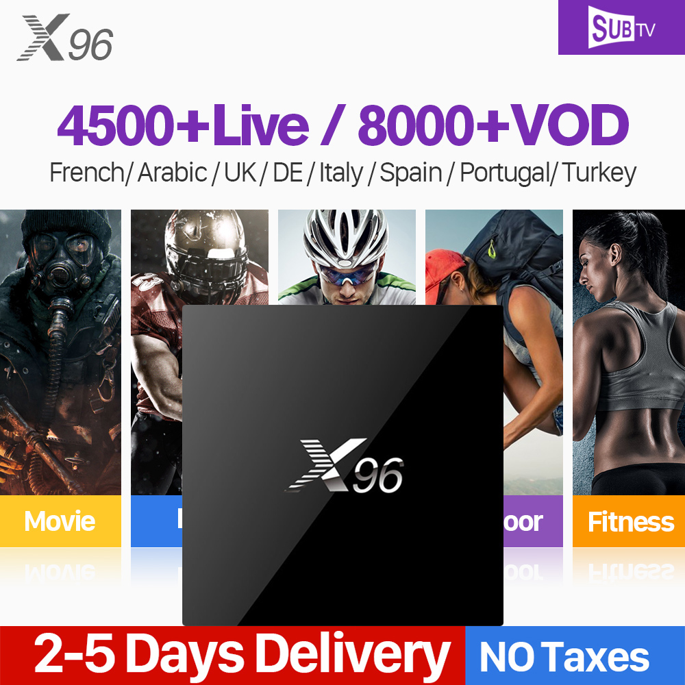 X96 IPTV France Box Android With SUBTV IPTV 1 Year Subscription France Arabic Belgium Portugal Turkey Canada IPTV
