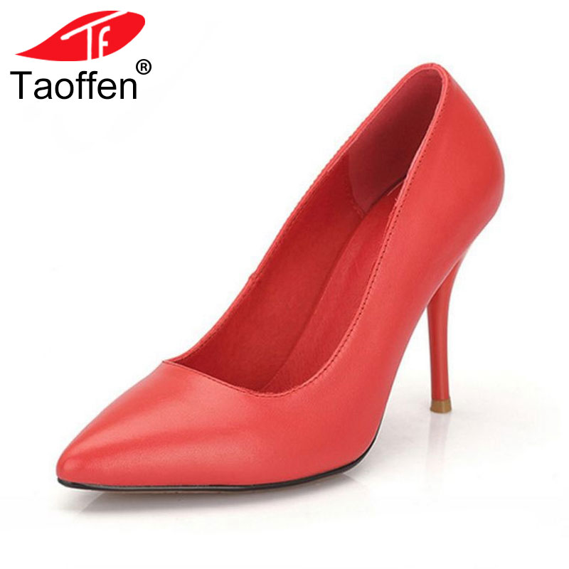 TAOFFEN ladies real genuine leather thin high heel shoes women brand sexy heels office lady pumps heeled shoes size 34-40 R08338 taoffen ladies leisure casual flats shoes low heels lady loafers sexy spring women brand footwear shoes size 34 42 p16166