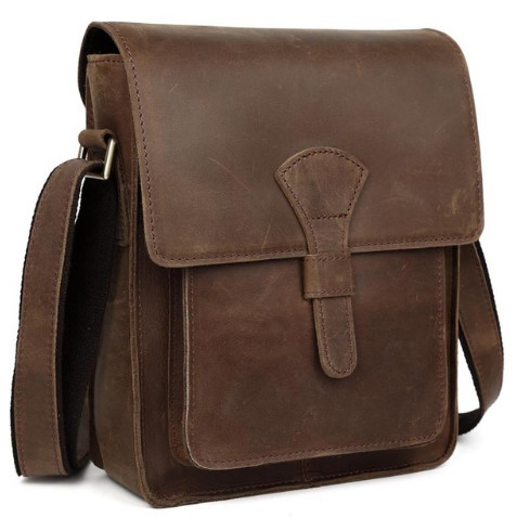 Men Genuine leather cross body bag vintage style shoulder bag for iPad crazy horse leather small bag Messenger Bags