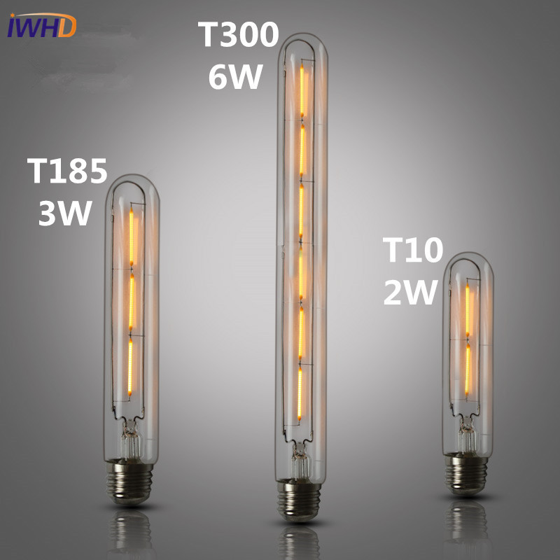 IWHD Test Tube LED Edison Bulb Light Vintage Retro Lamp Bulb Ampoules Decoratives E27 220V T10/T185/T225/T30 2W/3W/4W/6W