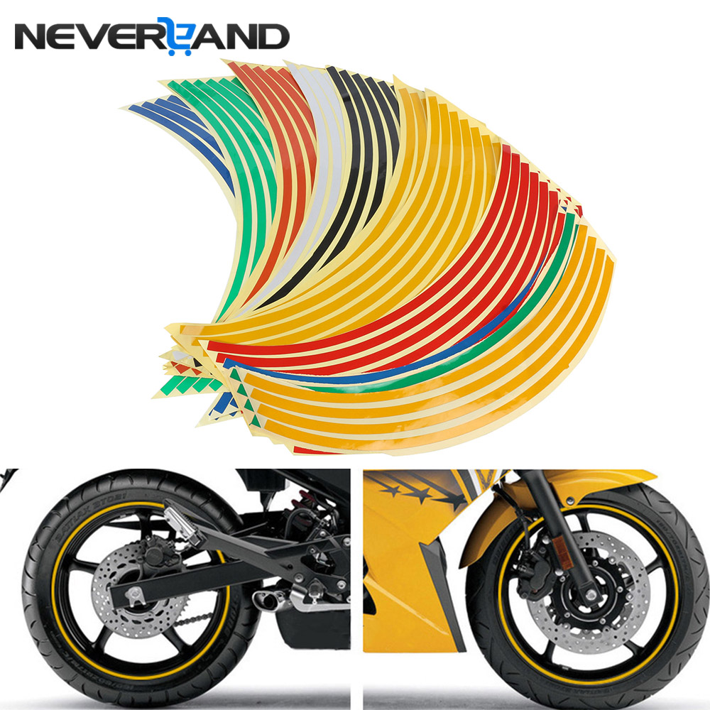 "18"" Motorcycle Decor Tire Rim Wheel Sticker Reflective Bike Car Styling Motorbike Auto Decals For Yamaha Suzuki Honda(China)"