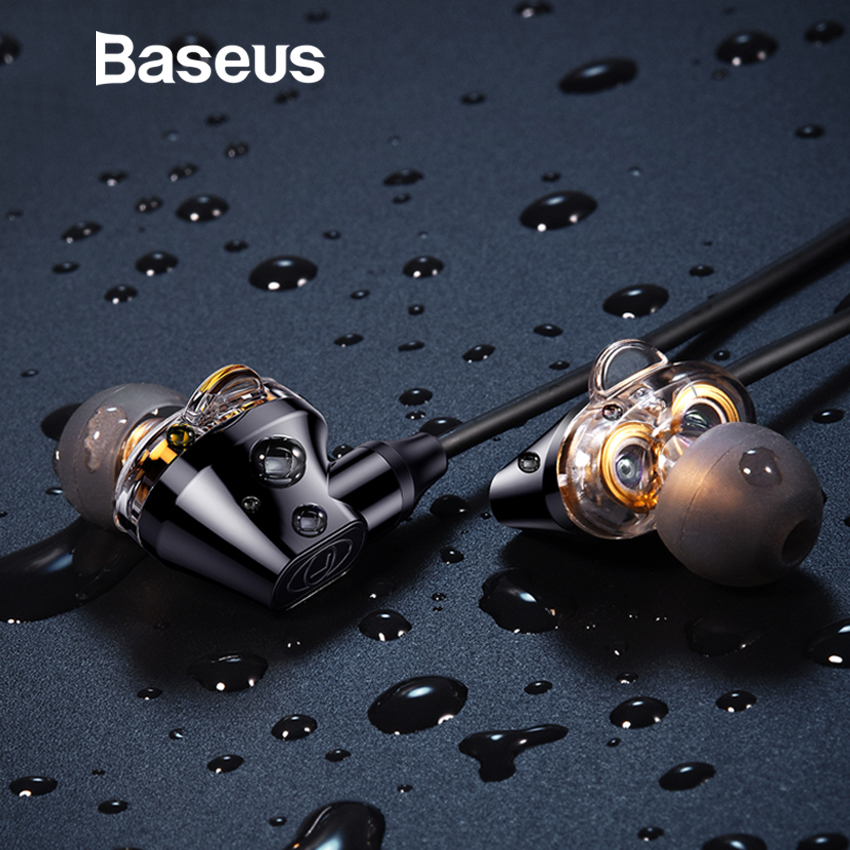 Baseus S10 Bluetooth Earphone IPX5 Waterproof Headphone Double Dynamic Handsfree Headset Wireless Earbud With Mic Fone De Ouvido wireless sports bluetooth earphone waterproof sports bass bluetooth earphones with mic for smart phone fone de ouvido earbuds