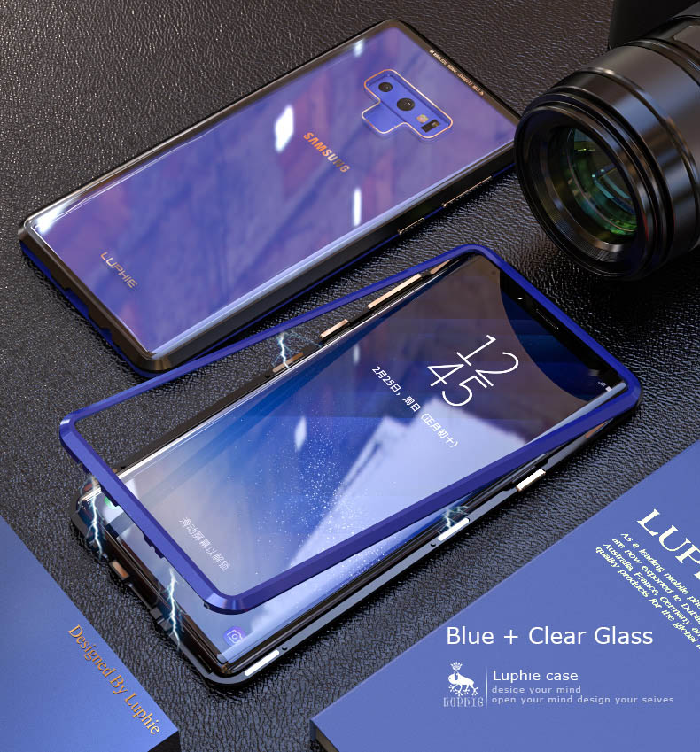 LUPHIE Magnetic Case For Samsung Galaxy Note 9 Clear Glass Magnet Case (12)