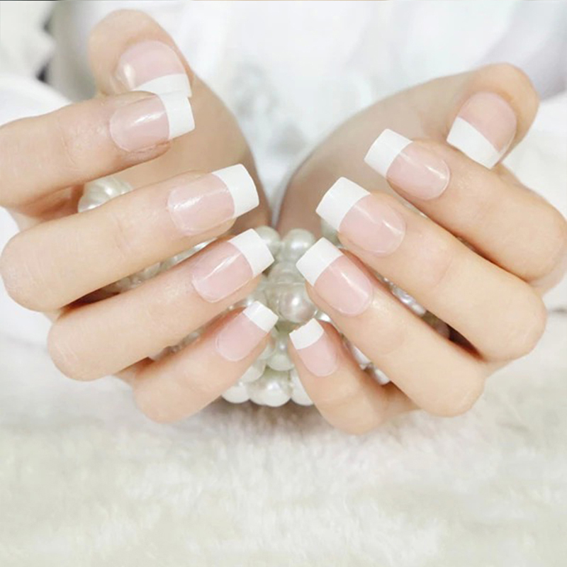 Perfect Summer Frech Manicure False Nail Wide White unhas posticas ...