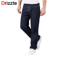 Drizzte Mens Jeans Plus Size 30 44 Stretch Denim 4 colors Men's Straight Jean Pants Casual Relax Loose Fit Jeans Trousers Pants