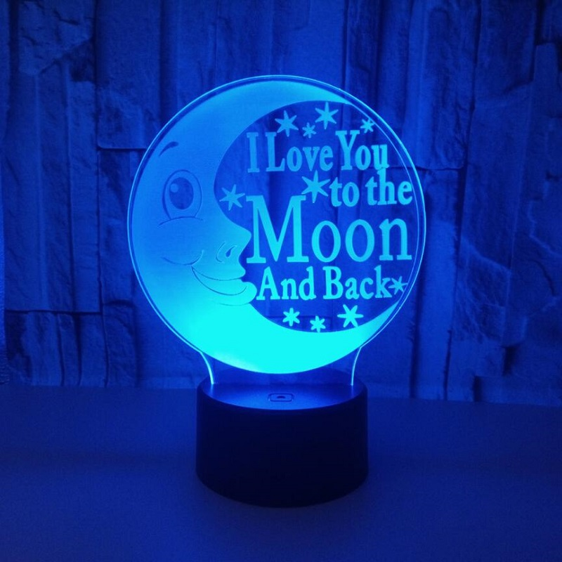 3D visual Moon Smiling face Multi-colored Acrylic Light Creative gift Home Furnishing 7 color change love you