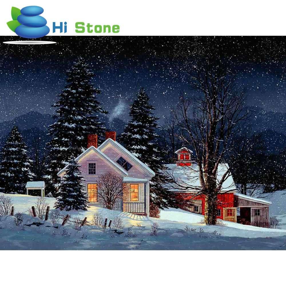 5D DIY Алмаз вышивка дом в снегу круглый бриллиант живопись вышивки крестом горный хрусталь мозаичные украшения подарок