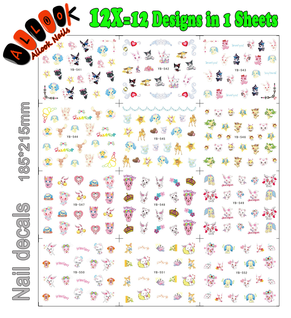 Art Nail (Large Piece YB541-552 12 DESIGNS IN 1)Mix Cartoon Jewelpet Nail Art Water Transfer Decal Sticker For Nail Tattoo samsung rs 552 nruasl