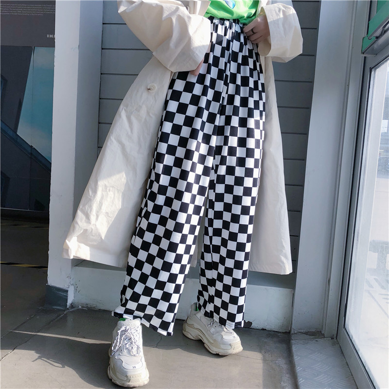 Focal Streetwear Plaid Women Pants Elastic Waist Full Length Checkered Black and White Casual Loose Straight Trousers 12