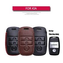 KUKAKEY 3 кнопочный ключ автомобиля чехол для Kia K3 K4 K5 Sorento, Sportage из натуральной кожи удаленной машине ключ оболочки держатель