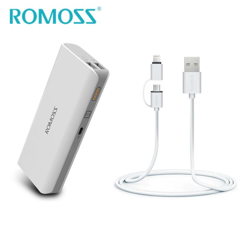imágenes para Powerbank 10400 mah romoss sense 4 banco de la energía + 2 en 1 Cable de carga para IOS y Android Batería Carga de la Batería Externa banco