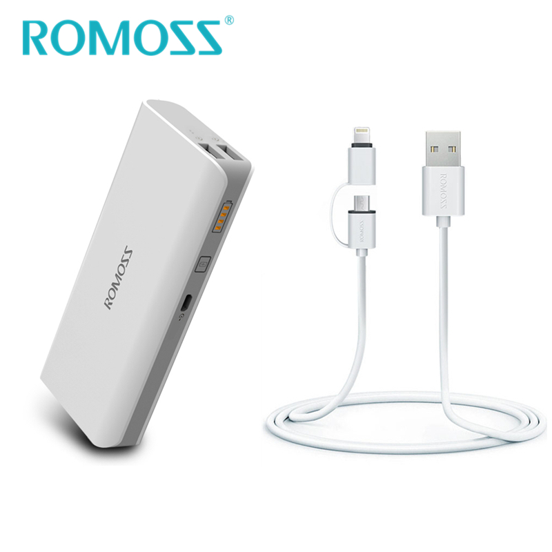 bilder für Romoss power 10400 mah sinn 4 energienbank + 2 in 1 Ladekabel für IOS & Android Externe Akku Batterie Laden Bank