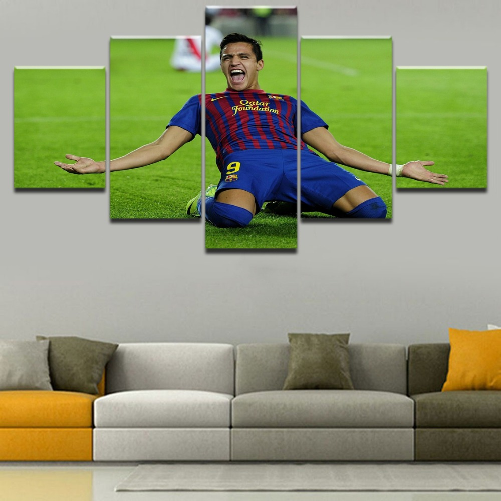 Canvas Painting 5 Panel Soccer Sports Alexis Sanchez Wall Art Poster Modular Pictures For Living Room Home Decor Framework