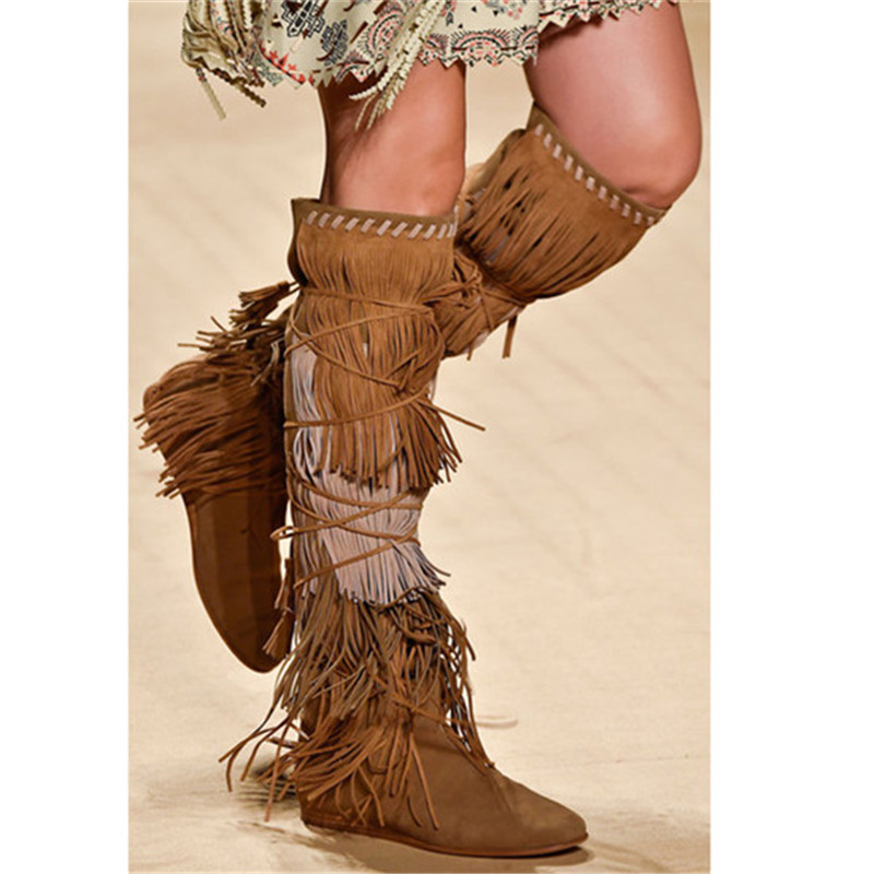 Fashion Mixed Color Fringe Women Boots Shoes Woman Tassel Flat Knee High Boots Runway Autumn Winter Boots Booties Botas Mujer fashion autumn and winter style flock leather women fringe flat heels long boots woman keep warm tassel knee high boots