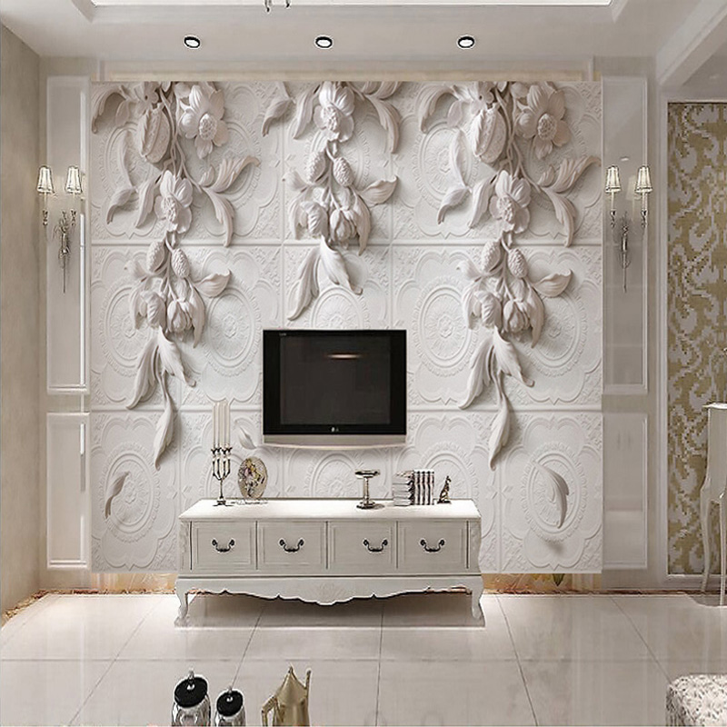 Custom 3D Wall Murals Wallpaper European Style Wall Painting White Flowers Embossed 3D TV Backdrop Papel De Parede 3D Home Decor