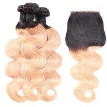 Волнистые человеческие волосы Abijale, пучки с застежкой Омбре, пупряди с застежкой T1B/27, бразильские пупряди для плетения Волос Remy