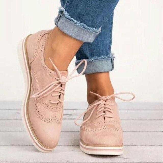 Zapatos de Brogue de goma mujer plataforma Oxfords estilo británico Creepers Cut-Outs planos Casual zapatos de mujer cordones calzado 5 colores