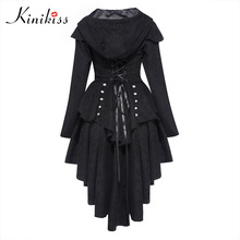 Kinikiss Women Coat 2017 Spring Black Overcoat Corset Hooded Bow Button Long Sleeve Female Autumn Fashion Casual Slim Overcoat