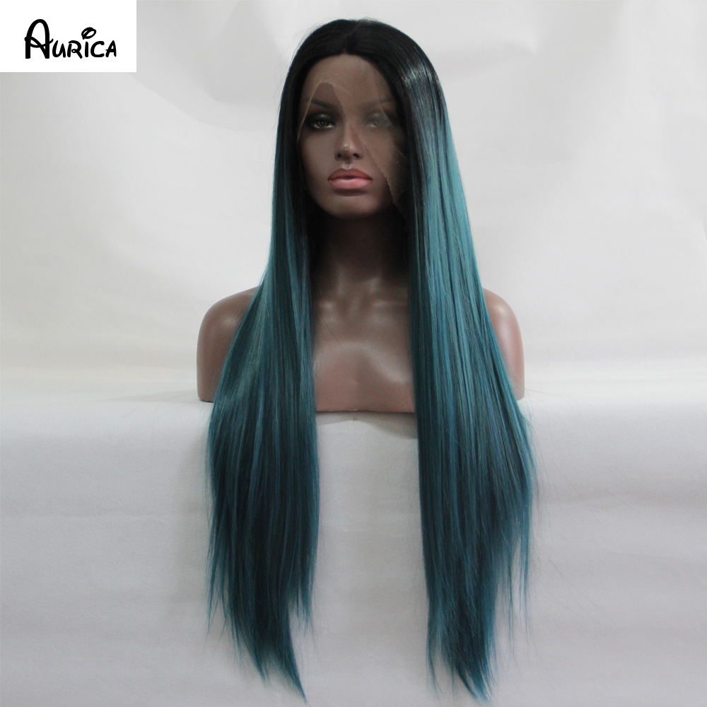 ФОТО Ombre Turquoise Green Teal Silk Straight Synthetic Lace Front Wig Glueless Natural Black/Green Heat Resistant Hair Wigs New